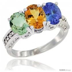 14K White Gold Natural Green Amethyst, Citrine & Tanzanite Ring 3-Stone 7x5 mm Oval Diamond Accent
