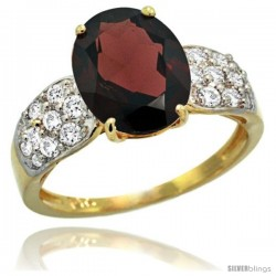 14k Gold Natural Garnet Ring 10x8 mm Oval Shape Diamond Accent, 3/8inch wide