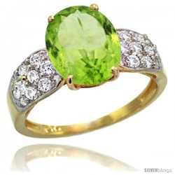 14k Gold Natural Peridot Ring 10x8 mm Oval Shape Diamond Accent, 3/8inch wide