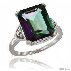 14k White Gold Ladies Natural Mystic Topaz Ring Emerald-shape 12x10 Stone Diamond Accent