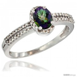 14k White Gold Ladies Natural Mystic Topaz Ring oval 6x4 Stone Diamond Accent -Style Cw408178