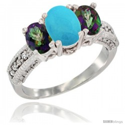 14k White Gold Ladies Oval Natural Turquoise 3-Stone Ring with Mystic Topaz Sides Diamond Accent