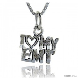 Sterling Silver I Love My EMT Talking Pendant, 1 in wide