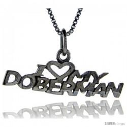 Sterling Silver I Love My Doberman Talking Pendant, 1 in wide