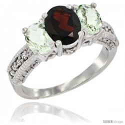 14k White Gold Ladies Oval Natural Garnet 3-Stone Ring with Green Amethyst Sides Diamond Accent