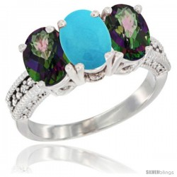 14K White Gold Natural Turquoise & Mystic Topaz Sides Ring 3-Stone 7x5 mm Oval Diamond Accent