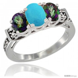 14K White Gold Natural Turquoise & Mystic Topaz Ring 3-Stone Oval with Diamond Accent