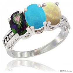 14K White Gold Natural Mystic Topaz, Turquoise & Opal Ring 3-Stone 7x5 mm Oval Diamond Accent