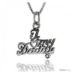 Sterling Silver I Love My Daddy Talking Pendant, 1 in wide