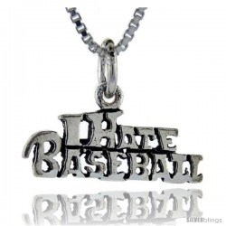 Sterling Silver I Hate Basketball Talking Pendant, 1 in wide