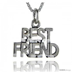 Sterling Silver Best Friend Talking Pendant, 1 in wide