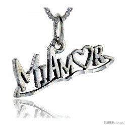 Sterling Silver Mi Amor Talking Pendant, 1 in wide
