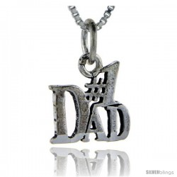Sterling Silver No. 1 Dad Talking Pendant, 1 in wide