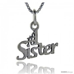 Sterling Silver No. 1 Sister Talking Pendant, 1 in wide