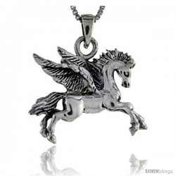 Sterling Silver Pegasus Pendant, 1 1/8 in tall