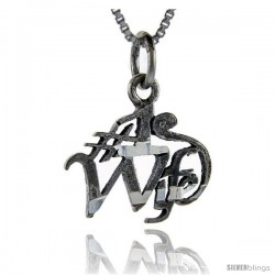 Sterling Silver No. 1 Wife Talking Pendant, 1 in wide