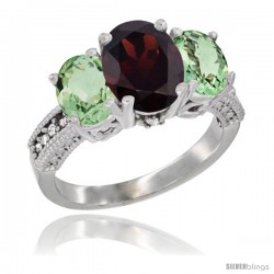14K White Gold Ladies 3-Stone Oval Natural Garnet Ring with Green Amethyst Sides Diamond Accent