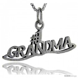 Sterling Silver No. 1 Grandma Talking Pendant, 1 in wide