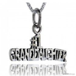 Sterling Silver No. 1 Grand Daughter Talking Pendant, 1 in wide -Style Pa777