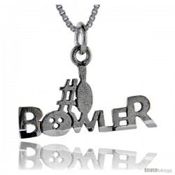 Sterling Silver No. 1 Bowler Talking Pendant, 1 in wide