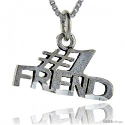 Sterling Silver No. 1 Friend Talking Pendant, 1 in wide
