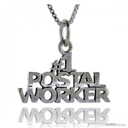 Sterling Silver No. 1 Postal Worker Talking Pendant, 1 in wide