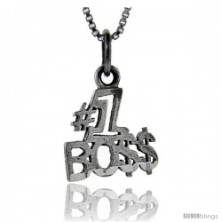 Sterling Silver No. 1 Boss Talking Pendant, 1 in wide -Style Pa789