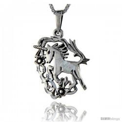 Sterling Silver Unicorn Pendant, 1 1/4 in tall