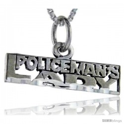 Sterling Silver Policeman's Lady Talking Pendant, 1 in wide