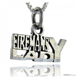 Sterling Silver Fireman's Lady Talking Pendant, 1 in wide