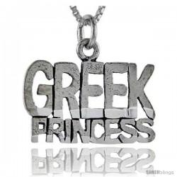 Sterling Silver Greek Princess Talking Pendant, 1 in wide