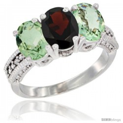 14K White Gold Natural Garnet & Green Amethyst Sides Ring 3-Stone 7x5 mm Oval Diamond Accent