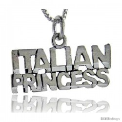 Sterling Silver Italian Princess Talking Pendant, 1 in wide
