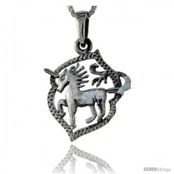 Sterling Silver Unicorn Pendant, 1 1/4 in tall -Style Pa80