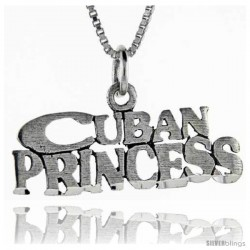 Sterling Silver Cuban Princess Talking Pendant, 1 in wide