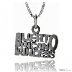 Sterling Silver Puerto Rican Princess Talking Pendant, 1 in wide