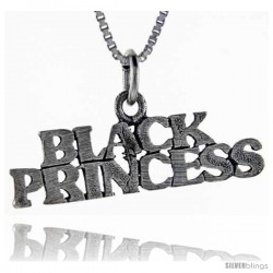 Sterling Silver Black Princess Talking Pendant, 1 in wide