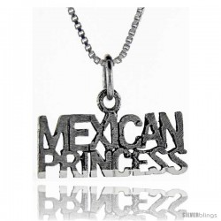 Sterling Silver Mexican Princess Talking Pendant, 1 in wide