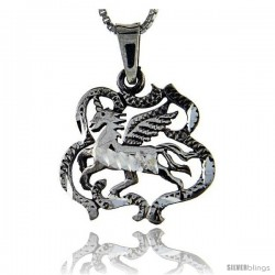 Sterling Silver Unicorn Pendant, 1 1/4 in tall -Style Pa81