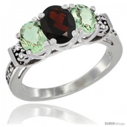 14K White Gold Natural Garnet & Green Amethyst Ring 3-Stone Oval with Diamond Accent