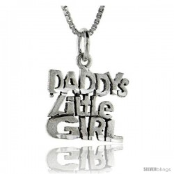 Sterling Silver Daddy's Little Girl Talking Pendant, 1 in wide