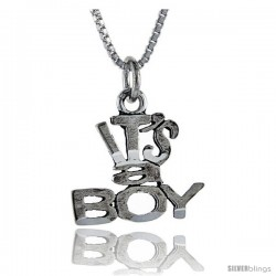 Sterling Silver It's A Boy Talking Pendant, 1 in wide