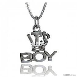 Sterling Silver It's A Boy Talking Pendant, 1 in wide