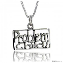 Sterling Silver Problem Child Talking Pendant, 1 in wide