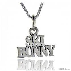 Sterling Silver Ski Bunny Talking Pendant, 1 in wide