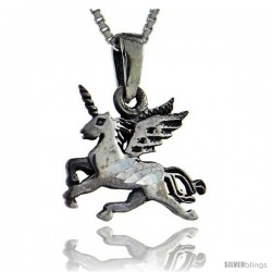 Sterling Silver Unicorn Pendant, 1 1/4 in tall -Style Pa82