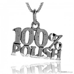 Sterling Silver 100 Percent Polish Talking Pendant, 1 in wide