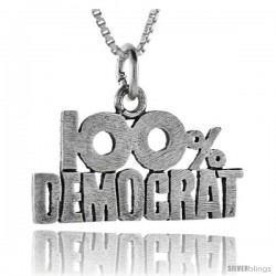 Sterling Silver 100 Percent Democrat Talking Pendant, 1 in wide