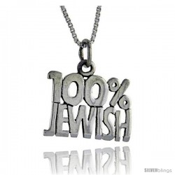 Sterling Silver 100 Percent Jewish Talking Pendant, 1 in wide