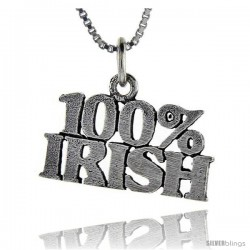 Sterling Silver 100 Percent Irish Talking Pendant, 1 in wide